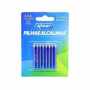 Pilha Palito Alcalina Cartela Com 4 Unidades Knup  KP-4900AAA