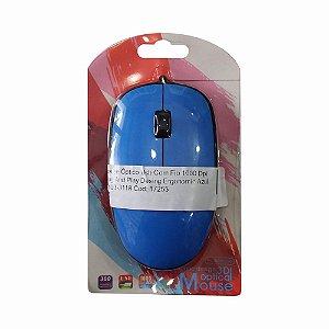Mouse Óptico Usb Com Fio 1000 Dpi Plug And Play Desing Ergonomic Azul Hz-03-3118