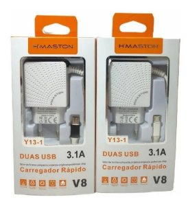 Carregador Rápido V8 Com Duas Usb Safety Protection 5V 3.1A H'maston Y13-1