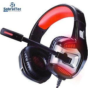 Headphone Gamer 7.1 Drive Hyperx LED Som Surround Microfone GH-X1800 Preto e Vermelho