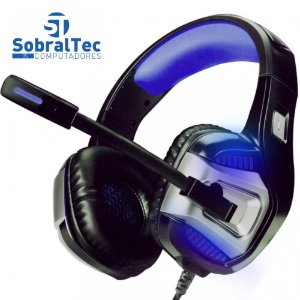 Headphone Gamer 7.1 Drive Hyperx LED Som Surround Microfone GH-X1800 Preto e Azul