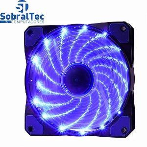 Cooler Fan 12cm Com 16 Leds Azul 12V 0,20A 9 Lâminas 1200Rpm Oex Game F20