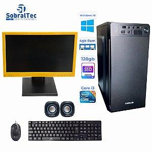 "Computador Core i3-3240 SSD 128GB Ram 4GB Gabinete C3Tec Monitor 15.6"" Teclado Mouse e Caixa De Som"