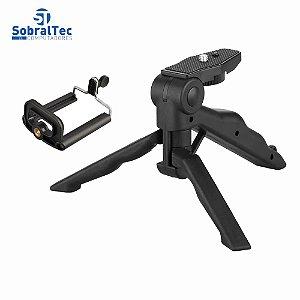 Suporte De Mão e Mini Tripé Ajustável 360 Para Celulares e Câmeras Com Adaptador