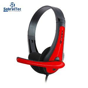 Headset Gamer C3Tech Com Microfone P2 Preto e Vermelho PH-30BK