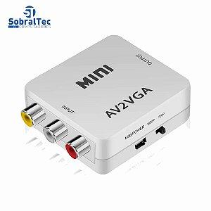 Mini Conversor De Vídeo Av Para Vga Com Áudio 3.5Mm Hd 720p 1080p Kebidu J-03-02