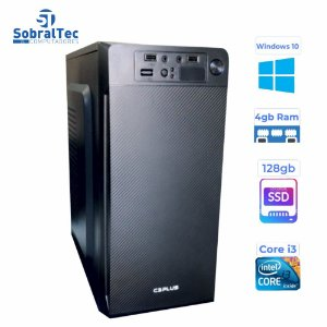 Computador Core i3- 3220- HD SSD 128GB- Memória Ram 4GB-Gaginete MT-11BK C3Plus Windows 10 e Antivirus