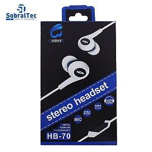 Fone De Ouvido Intra-Auricular Controle De Volume Microfone Stereo Earphones CHBHL HB-70