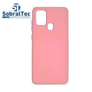 Capa Silicone TPU Reforçado Rosa Botões Em Azul Samsung Galaxy A21s
