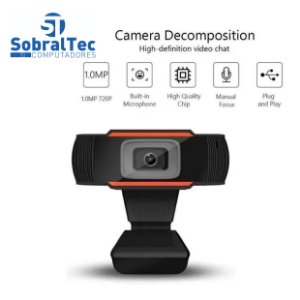 Webcam de alta definição 720p USB 2.0 Web Câmera com microfone para PC Plug and Play