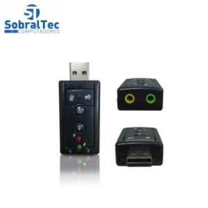 Adaptador Usb a Macho x Audio e Fone Preto