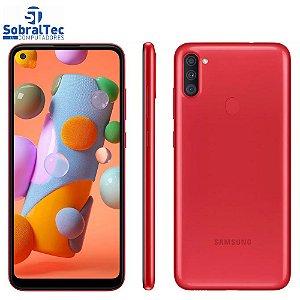 """Smartphone Samsung Galaxy A11 Vermelho 64GB - Câmera Tripla+Selfie 8MP Tela 6.4"""" Leitor de Digital Octa Core Android 10"""