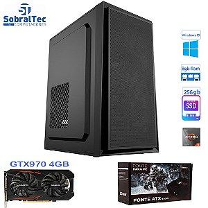Computador Gamer Ryzen 5 3600-Memória 8GB- HD SSD 256GB - Placa Vídeo GTX970 4GB 256Bit