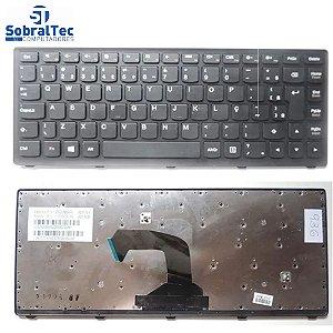 Teclado Notebook Compativel Com Ibm Lenovo S400 - Preto - Br - Silver Frame