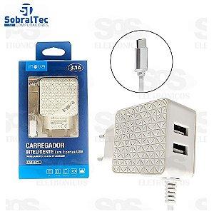 Carregador Inteligente Com 2 Portas USB Inova 3.1A - CAR-9011
