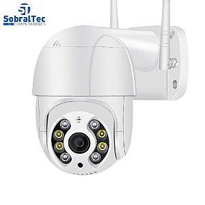 Câmera IP Mini Speed Dome WI-FI Externa 3MP Com Cartão SD 64GB -Alerta De Duas Vozes- Detecção Humana Áudio Visão Noturn