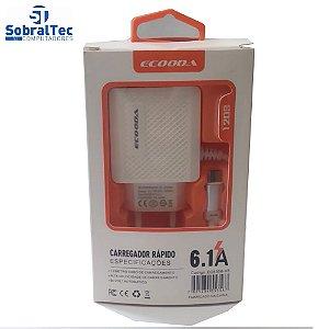 Carregador Rápido Com 3 Portas USB 6.1A Ecooda - EC5356-V8