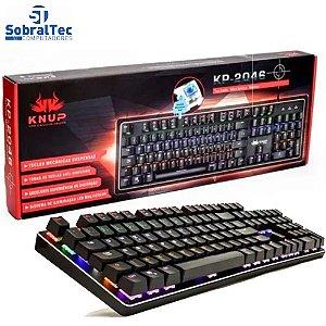 Teclado Gamer Usb Semi Mecânico Knup Kp-2046 Qwerty Portugues Brasil Com 12 Modos de Iluminação R