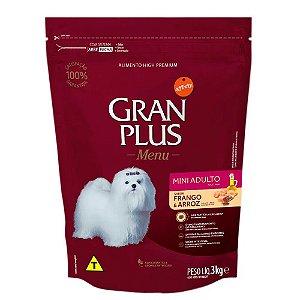 Ração Gran Plus Menu Cães Adultos Mini Frango e Arroz 3kg