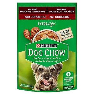 Ração Úmida Dog Chow Para Cães Adultos Cordeiro Sachê 100g