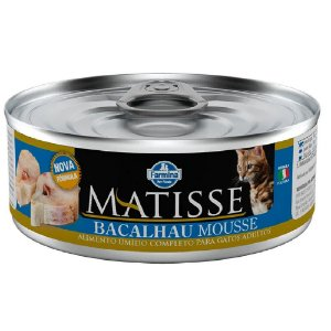 Ração Úmida Matisse Gatos Lata Sabor Bacalhau Mousse 85g