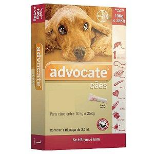 Advocate Cães 10 A 25kg Antipulgas e Carrapatos 2,5ml