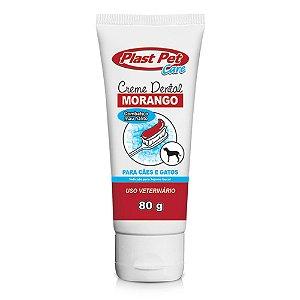 Creme Dental Plast Pet Care Sabor Morango 80g