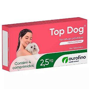 Vermífugo Palatável Top Dog 2,5kg 4 Comprimidos - Ourofino