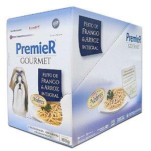 Ração Úmida Super Premium Premier Gourmet Cães Sachê Sabor Peito de Frango e Arroz Integral Display 12un 100g cada - PremierPet