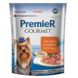 Ração Úmida Super Premium Premier Gourmet Cães Sachê Sabor Salmão e Arroz Integral 100g - PremierPet