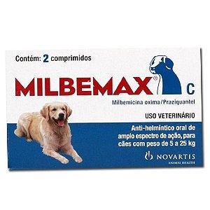 Vermífugo Cães Milbemax 5 a 25Kg 2cps - Novartis