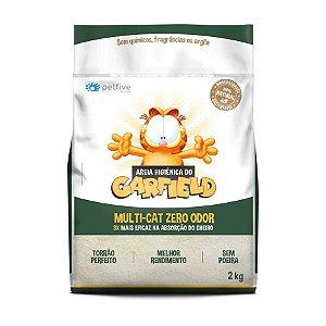 Areia Biodegradável Higiênica Garfield Grão Fino Natural 2kg