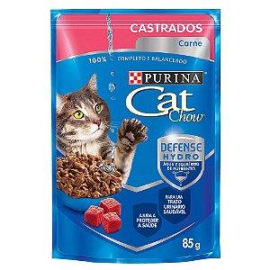 Ração Úmida Cat Chow Sachê Gatos Castrados Sabor Carne 85g - Purina