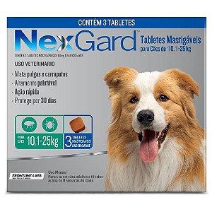 Nexgard Antipulgas E Carrapatos Cães 10 A 25kg - 3 Tabletes