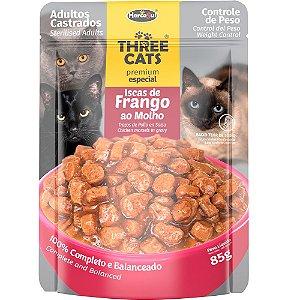 Ração Úmida Three Cats Premium Especial Sachê Gatos Adultos Castrados Sabor Frango ao Molho 85g - Hercosul