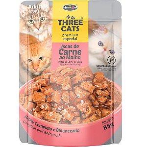 Ração Úmida Three Cats Premium Especial Sachê Gatos Adultos Sabor Carne ao Molho 85g - Hercosul