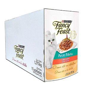 Ração Úmida Fancy Feast Sachê Gatos Adultos Petit Filets Sabor Carne Caixa 15un 85g Cada - Purina