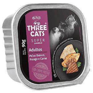 Ração Úmida Three Cats Super Premium Patê Gatos Adultos Sabor Peixe Branco, Frango e Carne 90g - Hercosul
