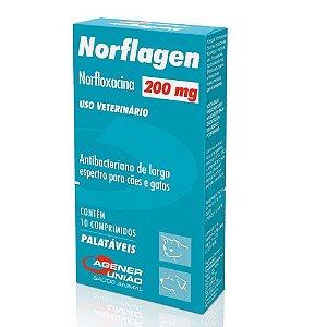 Antibacteriano Norflagen 200Mg Cães e Gatos 10 comprimidos - Agener