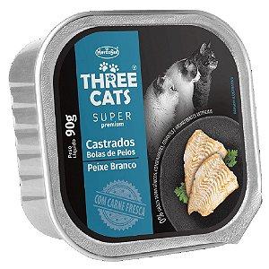 Ração Úmida Three Cats Super Premium Patê Gatos Castrados Sabor Peixe Branco 90g - Hercosul