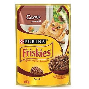 Ração Úmida Friskies Sachê Gatos Adultos Sabor Carne ao Molho 85g - Purina