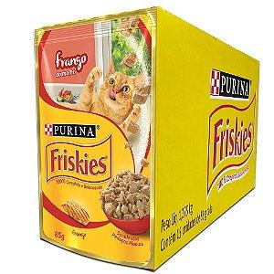 Ração Úmida Friskies Sachê Gatos Adultos Sabor Frango ao Molho Caixa 15un 85g Cada - Purina