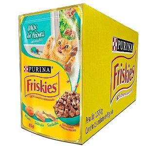 Ração Úmida Friskies Sachê Gatos Adultos Sabor Mix de Peixes ao Molho Caixa 15un 85g Cada - Purina