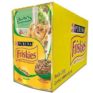 Ração Úmida Friskies Sachê Gatos Adultos Sabor Sardinha ao Molho Caixa 15un 85g Cada - Purina