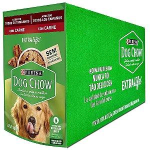 Ração Úmida Dog Chow Sachê Cães Adultos Sabor Carne Todos os Tamanhos Caixa 15un 100g Cada - Purina
