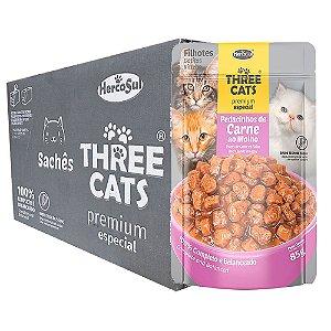 Ração Úmida Three Cats Premium Especial Sachê Gatos Flhotes Sabor Carne ao Molho  Caixa 12un 85g Cada - Hercosul