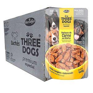Ração Úmida Three Dogs Premium Especial Sachê Cães Adultos Raças Médias e Grandes Sabor Carne ao Molho Caixa 12un 100g Cada - Hercosul