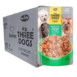 Ração Úmida Three Dogs Premium Especial Sachê Cães Adultos Raças Pequenas Sabor Carne ao Molho Caixa 12un 100g Cada - Hercosul