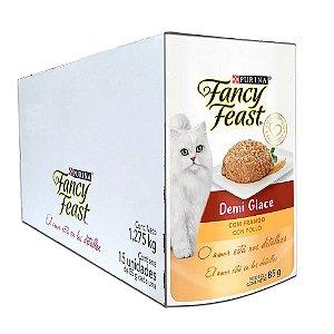 Ração Úmida Fancy Feast Sachê Gatos Adultos Demi Glace Sabor Frango Caixa 15un 85g Cada - Purina