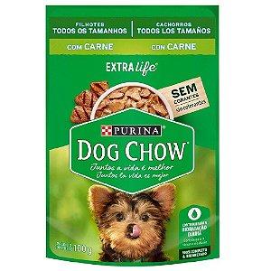 Ração Úmida Dog Chow Sachê Cães Filhotes Sabor Carne 100g Cada - Purina